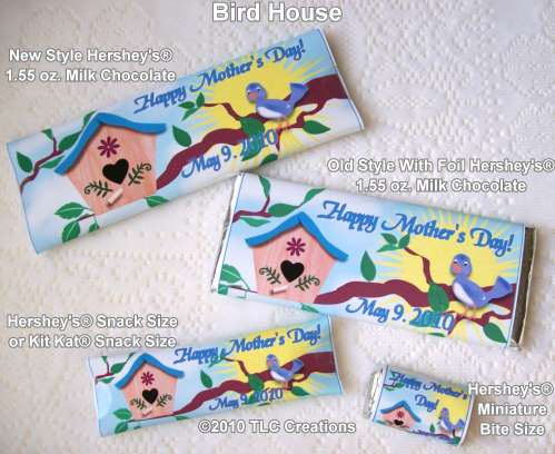 Bird House Mothers Day Wrapped Candy Bars