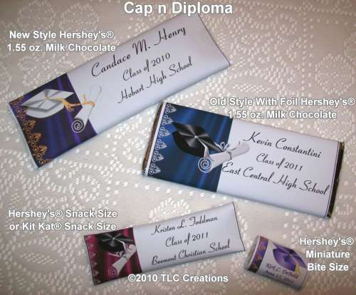 Cap n Diploma Graduation Wrapped Candy Bars