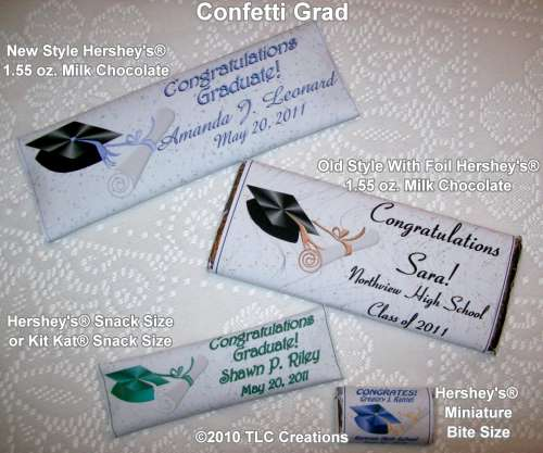 Confetti Grad Graduation Wrapped Candy Bars