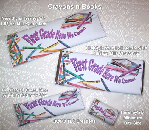 Crayons n Books Elementary Graduation Wrapped Candy Bars