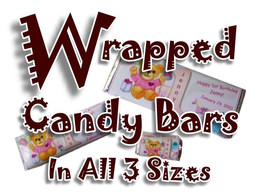Wrapped Candy Bars All Sizes