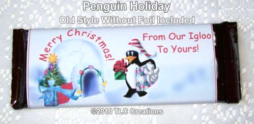 Penguin Holiday Christmas Holiday Wrapped Candy Bars