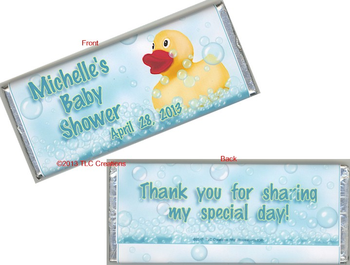Baby Shower Old Style Wrapped Candy Bars Rubber Duck