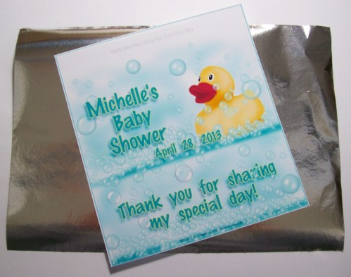 Baby Shower Candy Wrappers with Foil Rubber Duck