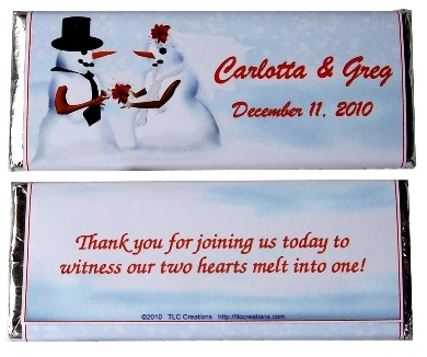 Snow Couple Wedding Candy Bars Old Style