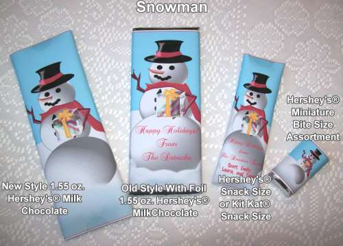 Snowman Christmas Holiday Wrapped Candy Bars