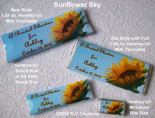 Bridal Shower Candy Wrappers Sunflower Sky