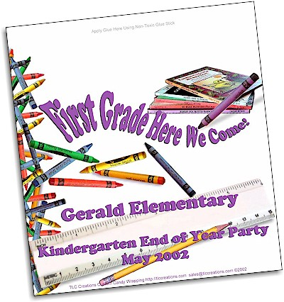 Crayons n Books Graduation Candy Wrappers - Old Style