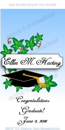 Mortarboard and Ivy Graduation Candy Wrappers Miniature