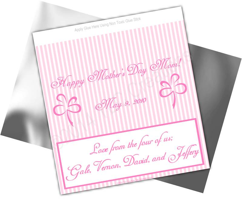 Pink Stripes Mothers Day Candy Wrappers Standard Sz