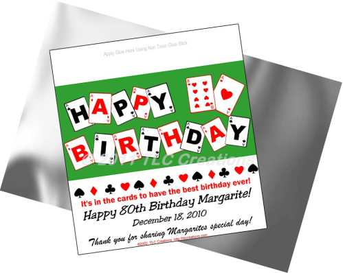 Playing Cards Birthday Candy Wrappers Standard Sz Candy Wrappers